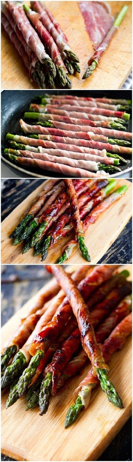 Prosciutto Wrapped Asparagus: Choose asparagus spears that are about 3/4-inch thick. Toss lightly in olive oil, salt, and pepper. Cut prosci...