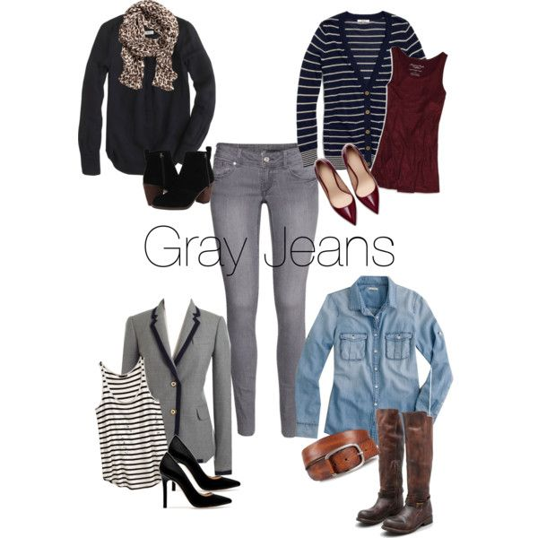 U0026quot;Gray Jeans - Fall Outfit Ideasu0026quot; by wrymommy on Polyvore | fabstyle | Pinterest | Grey American ...