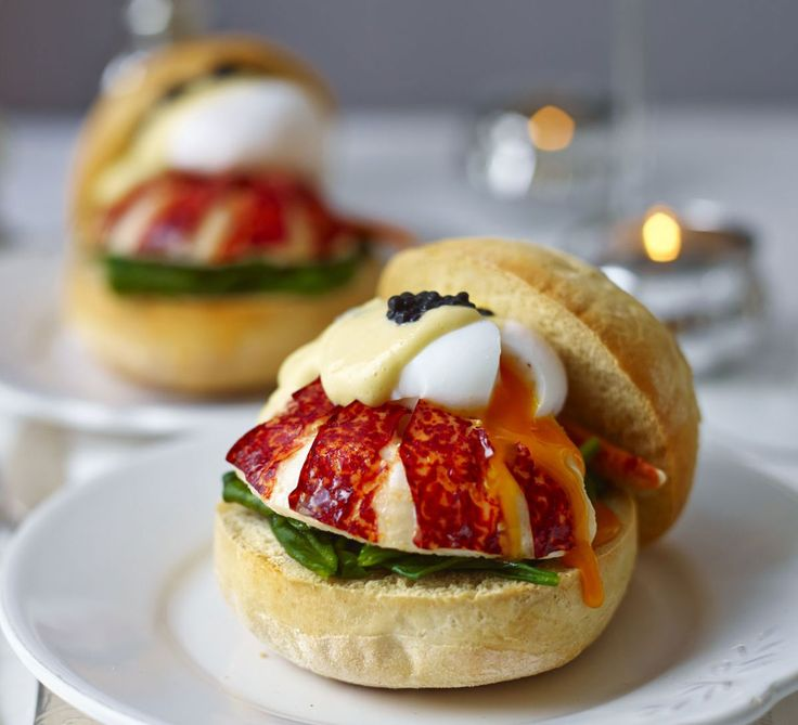 Lobster muffins with poached egg, caviar, spinach & hollandaise: Turn Eggs Benedict into a gourmet treat, perfect for a celebration breakfast or indulgent brunch - use shop bought muffins to save time