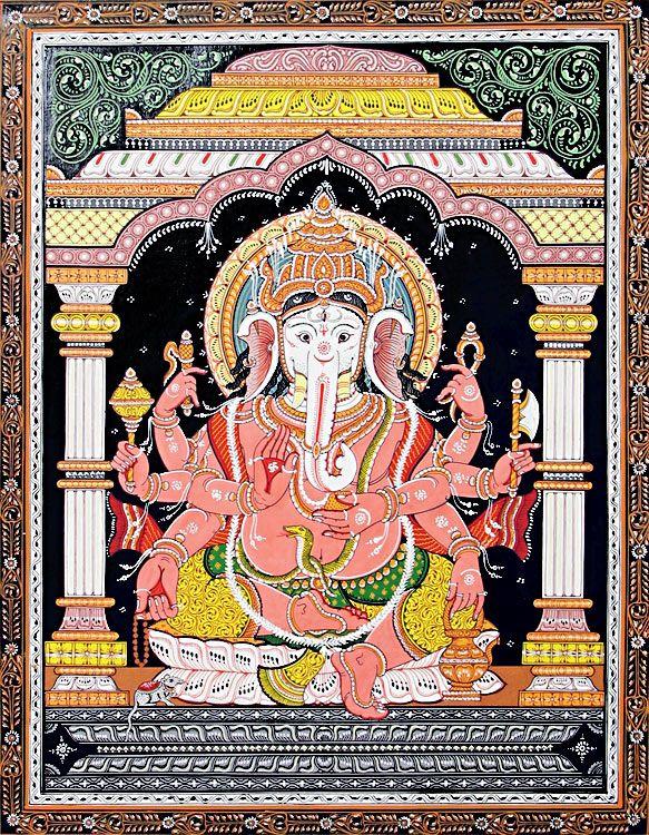 Eight+Handed+Ganesha+(Orissa+Paata+Painting+on+Canvas+-+Unframed))+