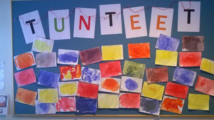 Mietimme millaisia tunteita meillä on ja minkä värisiä ne olisivat. Projekti jatkuu että jokainen lapsi saa näyttää tunteensa ja se valokuvataan.