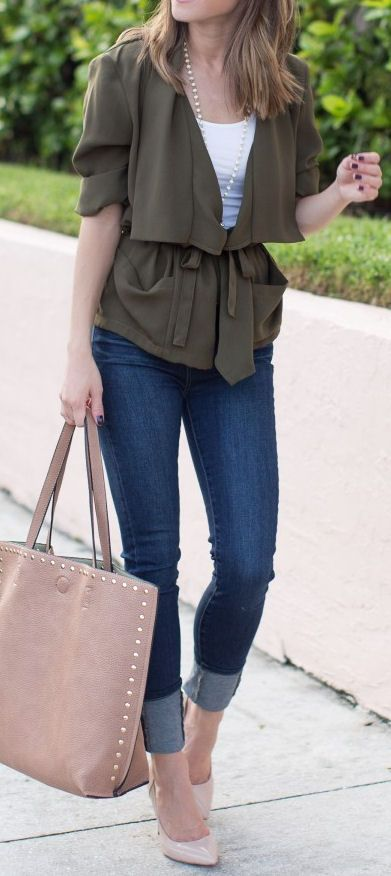 Olive Draped-Front Jacket, Skinny Jeans & Pumps ❤︎ #street #style