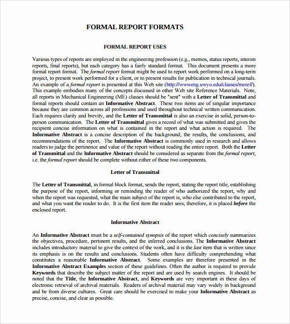 Formal Business Report Example Elegant Sample Formal Report 25