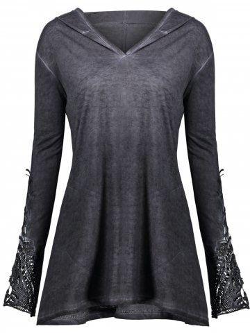 4623b4827ec Halloween Plus Size Lace Up Marled Dip Hem Hoodie. Plus Size Color Block  Applique Blouse. Crochet Insert Plus Size Hoodie