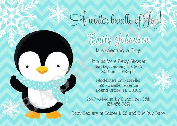 Penguin Baby Shower Invitation  Boy  Winter theme by jcbabycakes