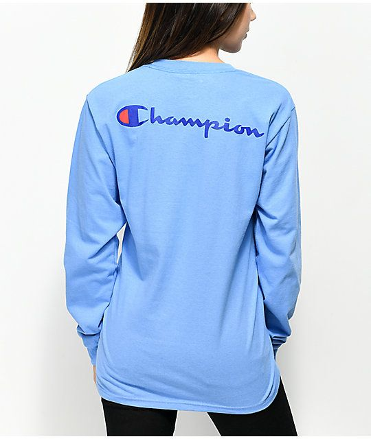 6a8224fcd3f2 Champion Big C Script Light Blue Long Sleeve T-Shirt in 2019 ...