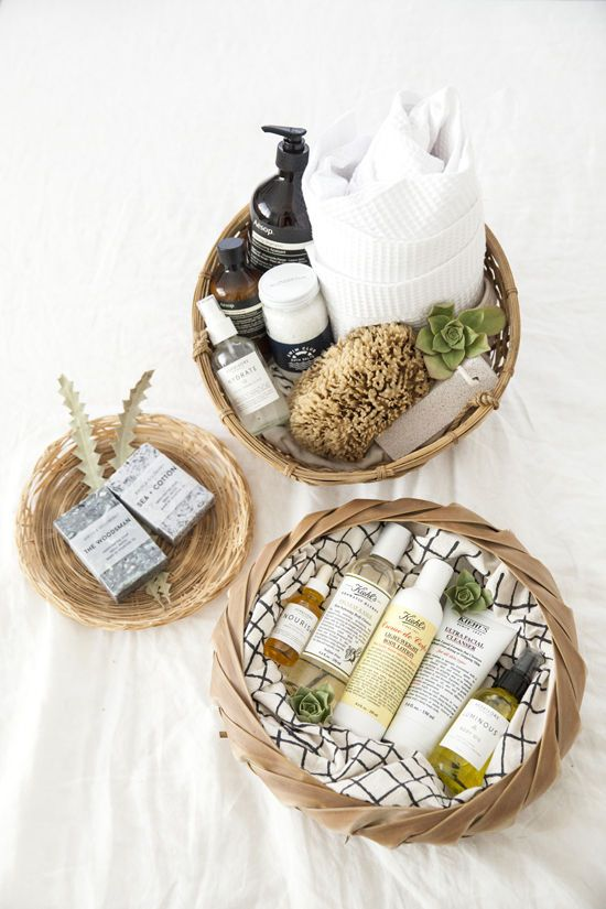 Shower kit gift. Good ideas: loofahs, fancy soaps, a nice robe, oils, and shampoos.