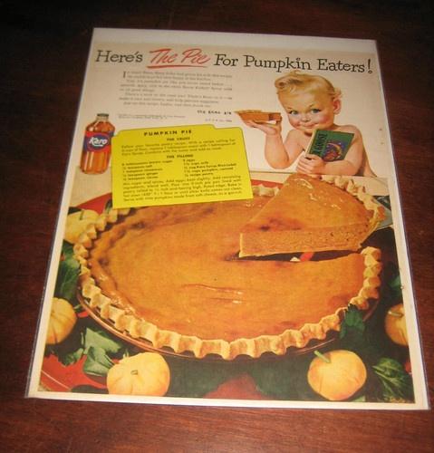 Vintage 1946 KARO SYRUP Ad Features The Karo Kid Pumpkin Pie Recipe Thanksgiving
