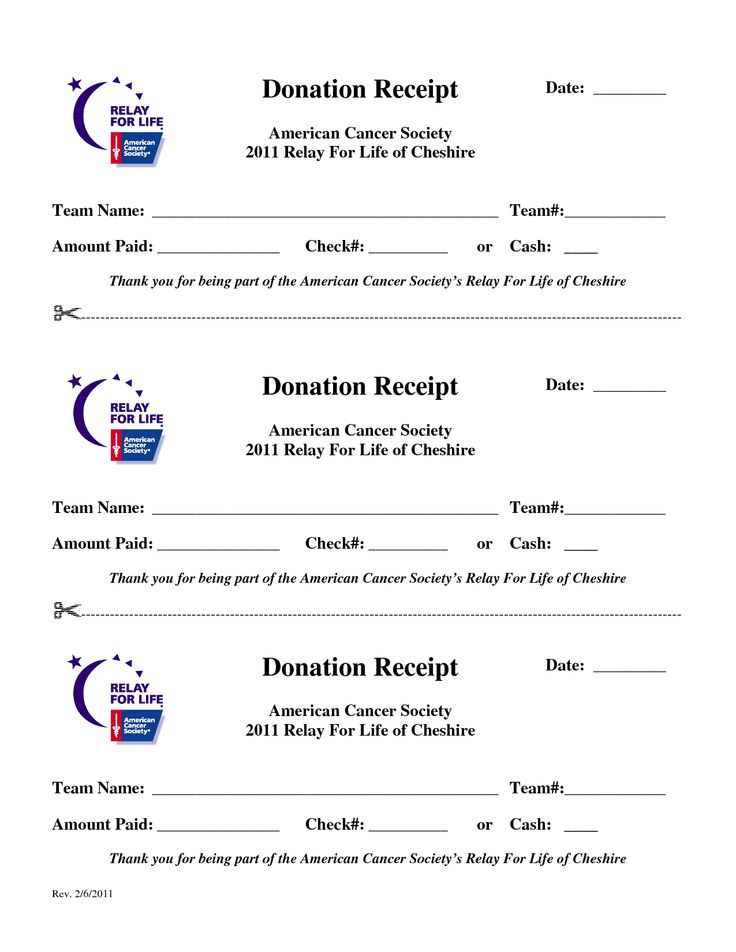 Relay for Life Print Forms | Donation Receipt Date American Cancer ...