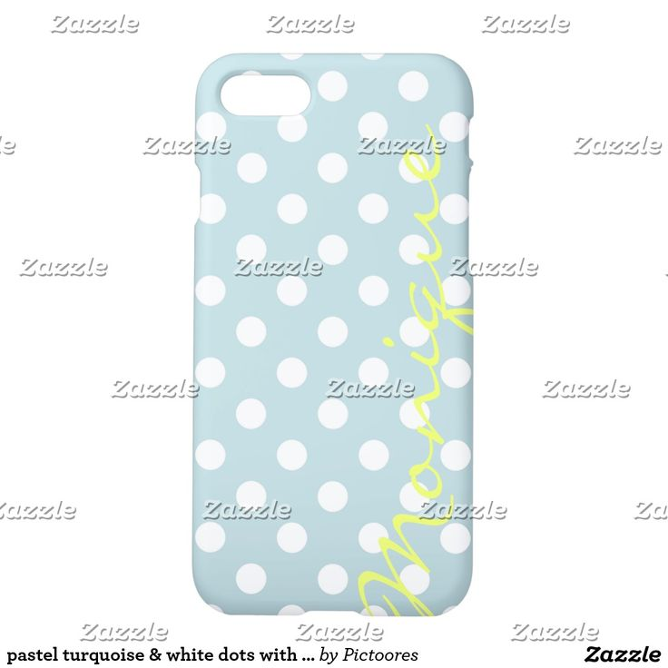 pastel turquoise & white dots with name iPhone 7 case