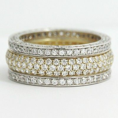 This ornately crafted 14k white and yellow gold #annivesary ring has been studded with 296 small diamonds in an arrangement showcasing brilliant craftsmanship.