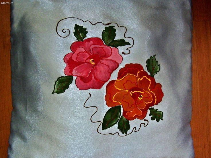 Arta decorativa Imprimeuri textile Perna decorativa pictata manual
