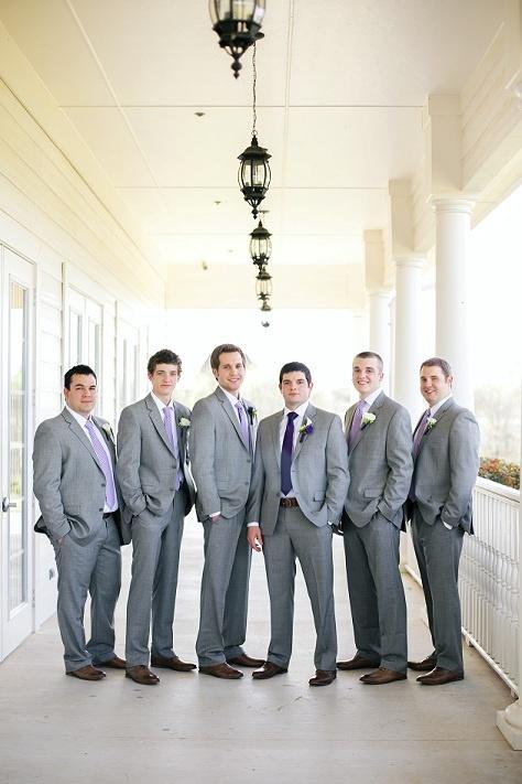 purple and grey wedding- groomsmen, grey suits, gingham ties, brown shoes #texaswedding www.aubreymarieblog.com