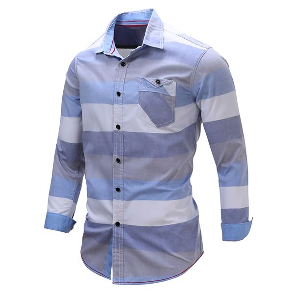 Stripe Splicing Color Casual Long Sleeve Cotton Men Dress Shirts
