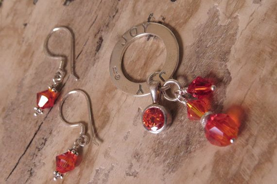 JOY pendant and earrings set sterling by CreativeWorkStudios