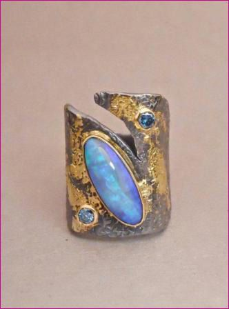 Goph Albitz, Oxidized sterling silver ring with opal