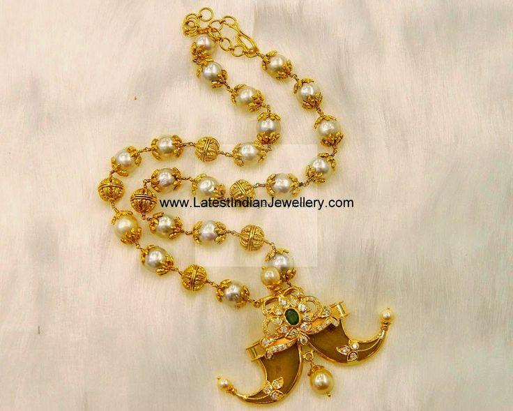 Pearl Beads Mala Puligoru Pendant