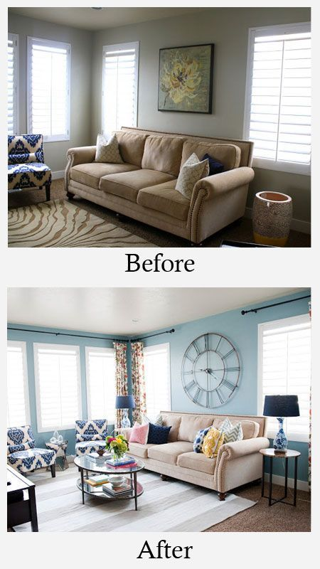 Living Room Makeovers - Before and After: This living room was suffering from a case of the boring beiges. Painting the walls in a vibrant color helped to make the sofa stand out. Colorful window treatments, chairs and accessories banished the blahs for good. More photos and details here.