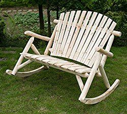 Merax Dual-Purpose Patio Love Seat Deck Pine Wood Outdoor Rocking Chair log color Natural look