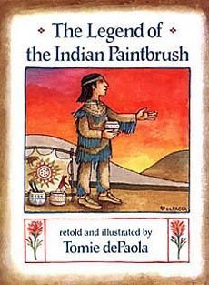 The Legend of the Indian Paintbrush by Tomie dePaola.  Make your own paint from squished berries.  Great preschool, hands-on classroom activity. - http://hannahami.blogspot.com/