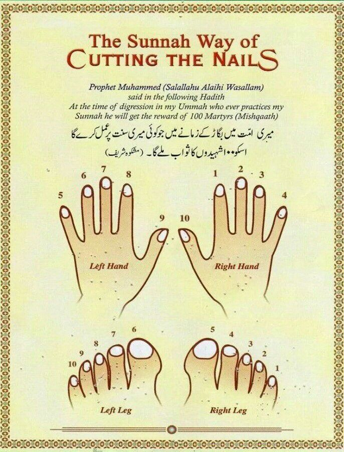 Sunnah's way cutting nails.