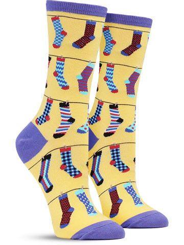 Socks on a Line Funny Novelty Socks for Women, in sunshine