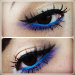 simple and fun !: Beautiful Boxes, Makeup Inspiration, Eye Makeup, Faces Paintings, Beautiful Stuff, Blue Liner, Eye Liner, Blue Bottoms, Electric Blue