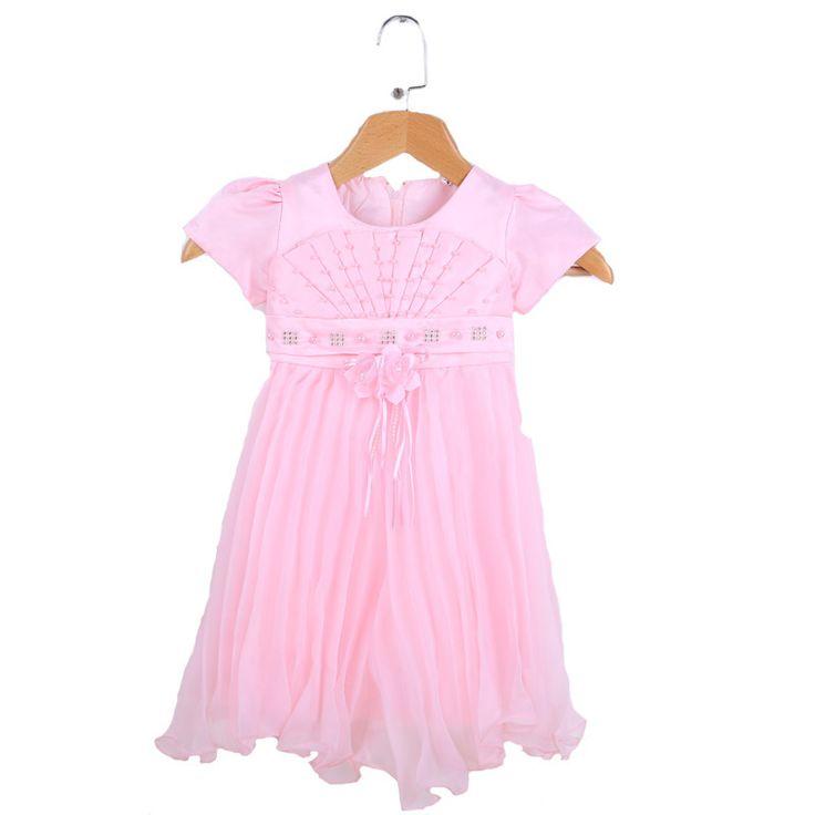 Summer Kids Girl clothes dress 2017 fashion bead Fold girl kids clothes dress summer brand lace kids girl clothes dress for girl