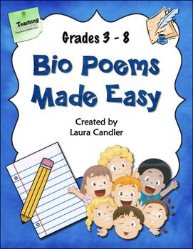 FREE Bio Poems Made Easy from Laura Candler - Complete packet of printables and directions - Can easily be adapted for grades 3 through 8 and beyond