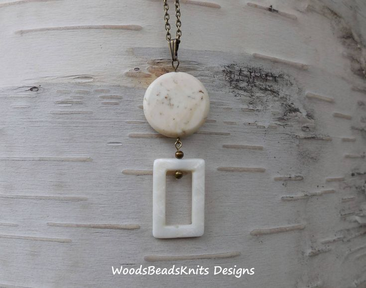 White Magnesite Shell Long Chain Long Pendant Necklace, Antique Brass Plated Steel Chain, Geometric, Minimalist