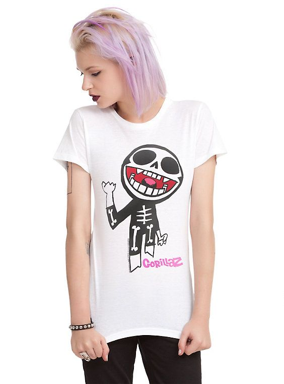 Gorillaz Skeleton Girls T-Shirt, WHITE