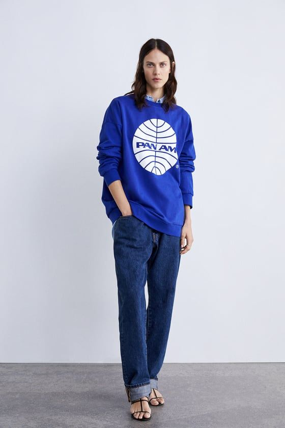 """babb383d Round neck sweatshirt with long sleeves with front ©Pan American World  Airways print. Ribbed trim. MODEL HEIGHT: 5' 10"""" (177 cm)"""