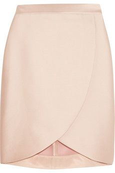 satin-twill wrap-effect skirt
