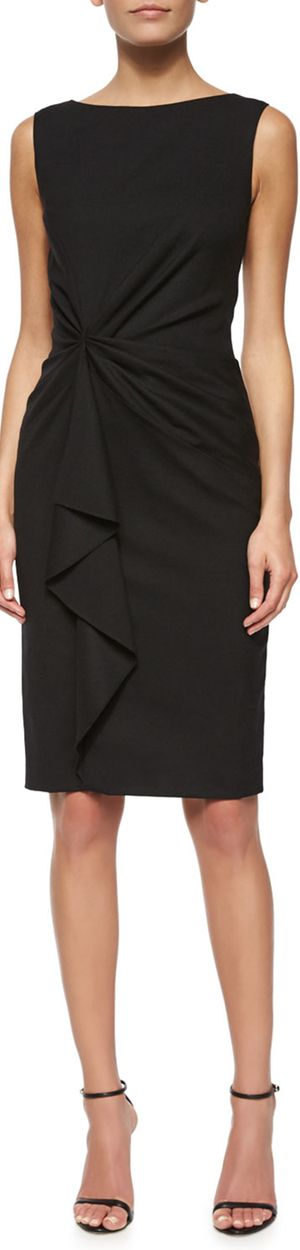Carolina Herrera Faux-Wrap Ruffled Sheath Black Dress. #women #fashion outfit #clothing style apparel @roressclothes closet ideas
