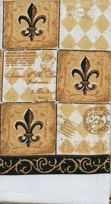 Majestic Black Tan Fleur De Lis Kitchen Print Terry Tea Dish Towel