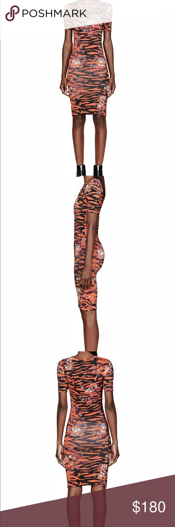 Alexander McQueen Orange Floral Tiger Print Dress This dress is part of the Mcq collection. It's fitted and has the perfect amount of stretch to it.  Accepting Offers! Alexander McQueen Dresses Midi