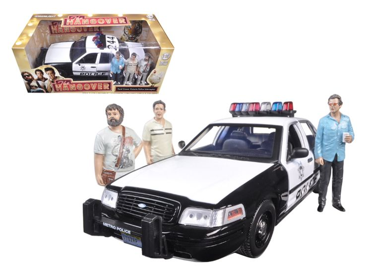 """2000 Ford Crown Victoria Police Interceptor Car with 3 Figures """"The Hangover"""" Movie (2009 ) 1/18 Diecast Model Car by Greenlight - Brand new 1:18 scale car model of 2000 Ford Crown Victoria Police Interceptor Car with 3 Figures """"The Hangover"""" Movie (2009 ) diecast car model by Greenlight. Rubber tires. Brand new box. Has steerable wheels. Has opening hood and doors. Comes with 3 figures: Stu, Phil, Alan. Detailed interior, exterior, engine compartment. Dimensions approximately L-10.5, W-4.5…"""