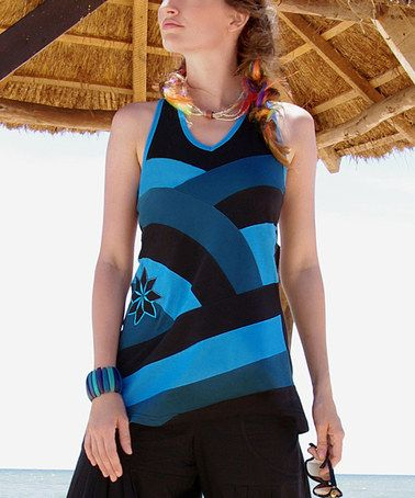 Look what I found on #zulily! Blue & Black Tunic by Aller Simplement #zulilyfinds