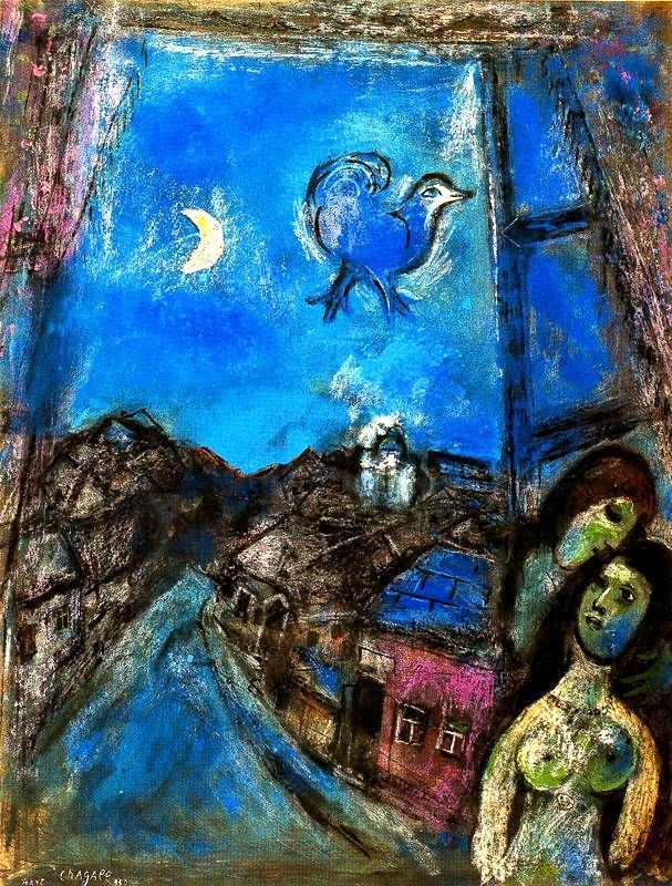 Marc Chagall - Evening at the Window, 1950