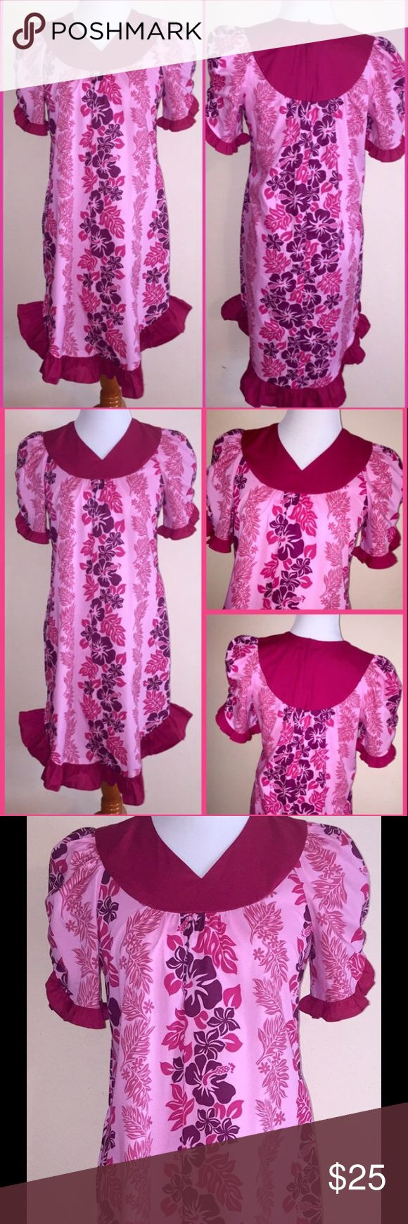 Vintage CAROL BENNETT Pink Floral Hawaiian Dress S Vintage CAROL BENNETT Pink Hibiscus Floral Print Ruffle Puff Sleeve Hawaiian Aloha Party Dress sz S Small. There are no material or size tags in the dress. My guess is the dress is made of 100% Cotton and is a size Small. Please see measurements for an accurate fit - Bust - 36 inches Waist - 46 inches Length - 37 inches Thanks for looking. 031117-14 carol bennett Dresses Midi