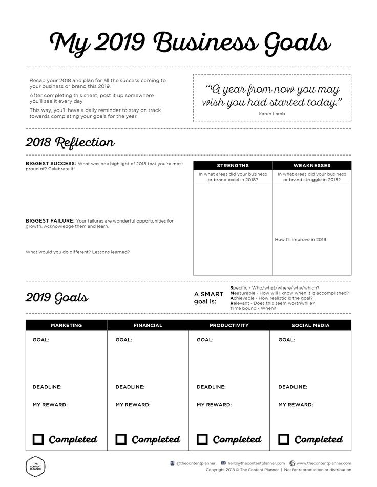2019 Business Goal Setting Worksheet Printable Free PDF