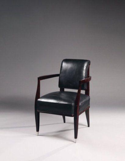 Ruhlmann fauteuil modèle drouant en palissandre à dossier gondole à motif d