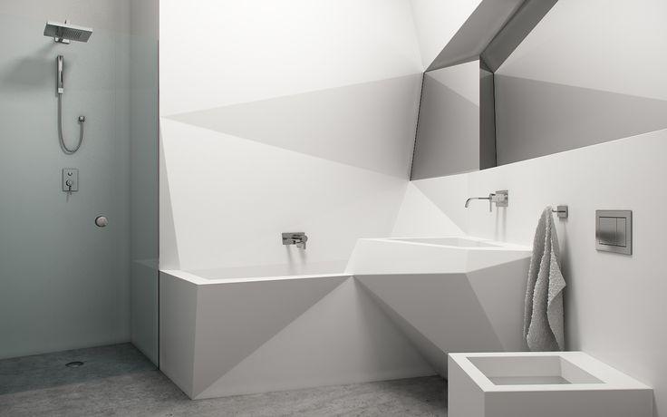 Interior, Angled Bathroom White Bathtub Shower And Murble Floor: Amazing  Futuristic Interior Design