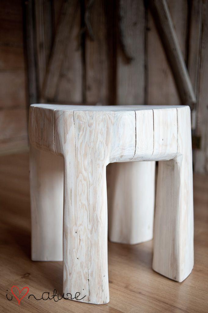 Log stool for courtyard