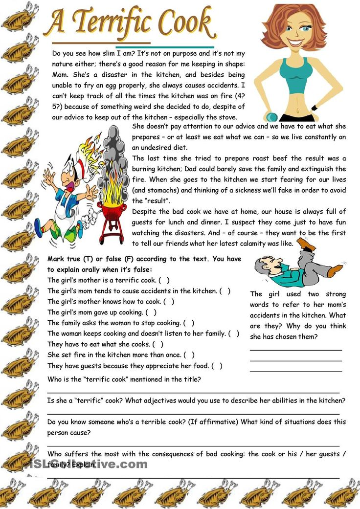 "A terrific cook – reading comprehension + grammar (-ing after expressions with ""to have"") [7 tasks] KEYS INCLUDED ((3 pages)) ***editable"