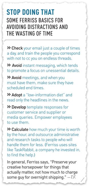 Suggestions from Tim Ferriss on how to get more done. #productivity Clipped from Inc. Magazine #clippings