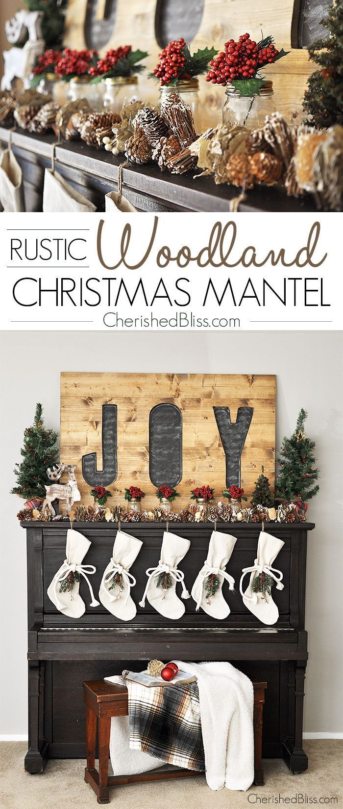 Welcome in Christmas with this beautiful Rustic Woodland Christmas Mantel