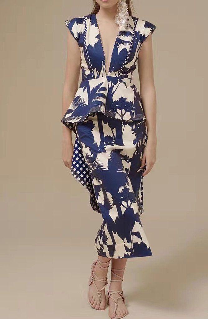 Chic Elegant Ruffles Blue Porcelain Print Dress