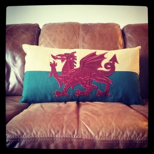 Large Welsh Flag Cushion - Handmade : Gifts from www.ILOVEWALES.com
