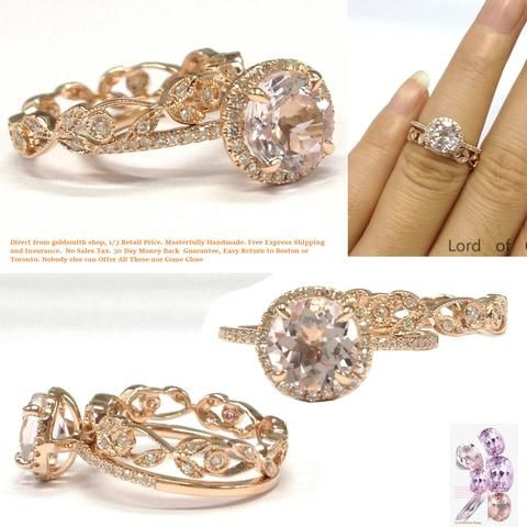 Round Morganite Engagement Ring Bridal Sets Pave Diamond Wedding 14K Rose Gold 7mm
